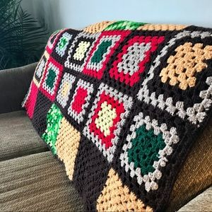 Small vintage Granny square crochet blanket